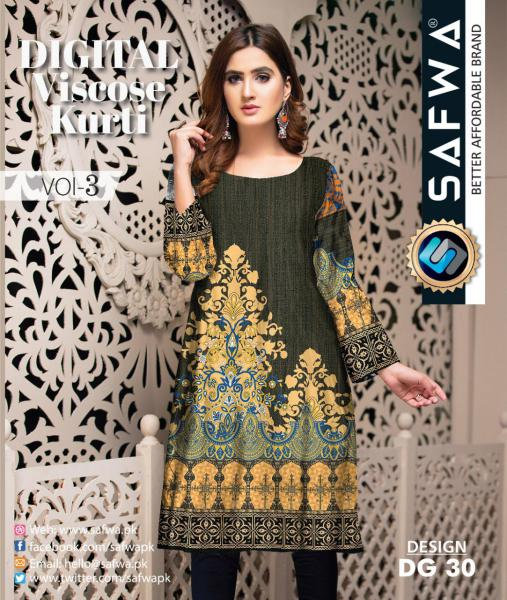 DG-30 - SAFWA - DIGITAL SHIRT - KURTI - VISCOSE KAMEEZ -SAFWA DRESS DESIGN, DRESSES, PAKISTANI DRESSES,-Shirt-Kurti-SAFWA Textile -SAFWA Brand Pakistan online shopping for Designer Dresses