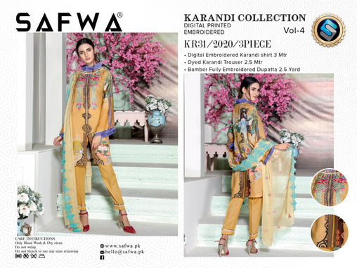 KR 31 - SAFWA DIGITAL KHADDAR 3 PIECE  PRINT COLLECTION -SHIRT Trouser and Duptta |SAFWA DRESS DESIGN| DRESSES| PAKISTANI DRESSES| SAFWA -SAFWA Brand Pakistan online shopping for Designer Dresses