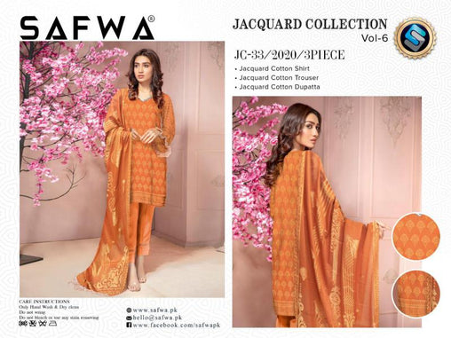 JC-33-SAFWA JACQUARD KARANDI/COTTON COLLECTION-3 PIECE DRESS - Safwa |Dresses| Pakistani Dresses| Fashion|Online Shopping