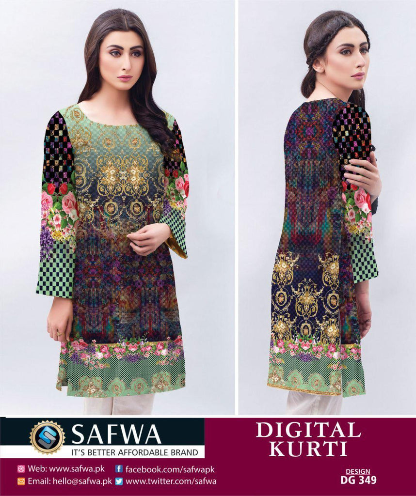 DG349 - SAFWA DIGITAL LAWN PRINT KURTI COLLECTION -SHIRT KURTI KAMEEZ, Shirt-Kurti, SAFWA, SAFWA Brand - Pakistani Dresses | Kurtis | Shalwar Kameez | Online Shopping | Lawn Dress