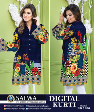 DG1034- SAFWA DIGITAL COTTON PRINT KURTI COLLECTION -SHIRT KURTI KAMEEZ - Shirt-Kurti - Safwa Pakistan Fashion