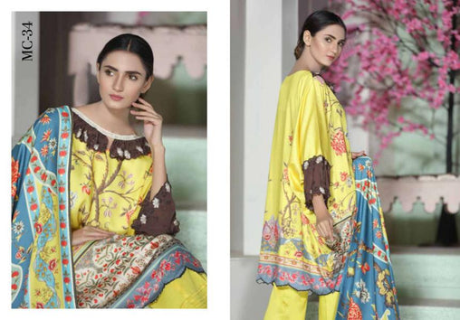 MC 34 - SAFWA DIGITAL MODALLE 3 PIECE PRINT COLLECTION -SHIRT Trouser and Duptta |SAFWA DRESS DESIGN| DRESSES| PAKISTANI DRESSES| SAFWA -SAFWA Brand Pakistan online shopping for Designer Dresses