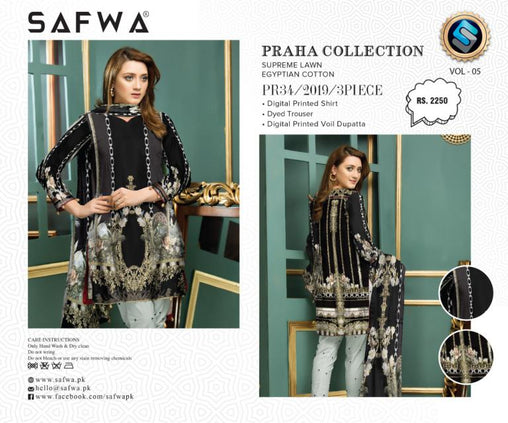 PR-34 SAFWA DRESS DESIGN, DRESSES, PAKISTANI DRESSES, PRAHA COLLECTION - 3 PIECE SUIT 2019-Three Piece Suit-SAFWA -SAFWA Brand Pakistan online shopping for Designer Dresses