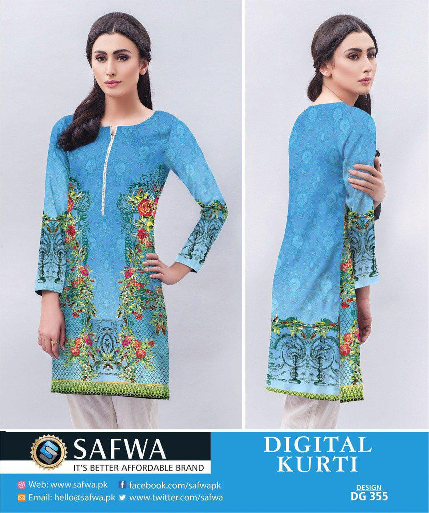 DG355 - SAFWA DIGITAL LAWN PRINT KURTI COLLECTION -SHIRT KURTI KAMEEZ, Shirt-Kurti, SAFWA, SAFWA Brand - Pakistani Dresses | Kurtis | Shalwar Kameez | Online Shopping | Lawn Dress