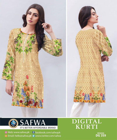 DG359 - SAFWA DIGITAL LAWN PRINT KURTI COLLECTION -SHIRT KURTI KAMEEZ, Shirt-Kurti, SAFWA, SAFWA Brand - Pakistani Dresses | Kurtis | Shalwar Kameez | Online Shopping | Lawn Dress