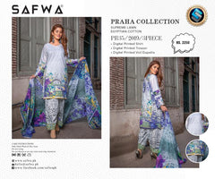PR-35 SAFWA DRESS DESIGN, DRESSES, PAKISTANI DRESSES, PRAHA COLLECTION - 3 PIECE SUIT 2019-Three Piece Suit-SAFWA -SAFWA Brand Pakistan online shopping for Designer Dresses