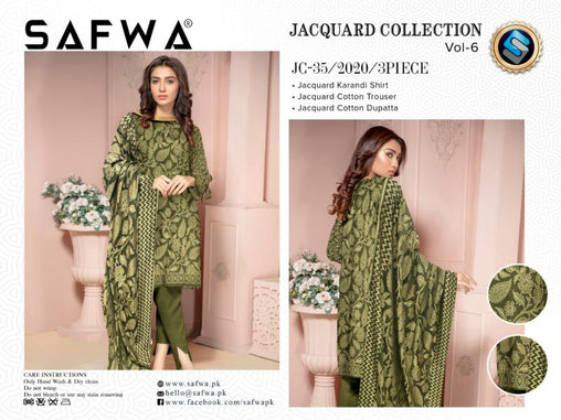JC-35-SAFWA JACQUARD KARANDI/COTTON COLLECTION-3 PIECE DRESS - Safwa |Dresses| Pakistani Dresses| Fashion|Online Shopping