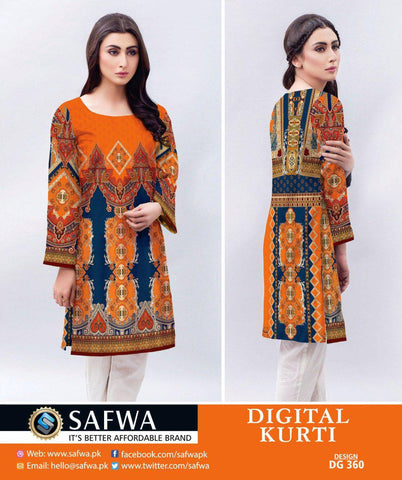 DG360 - SAFWA DIGITAL LAWN PRINT KURTI COLLECTION -SHIRT KURTI KAMEEZ, Shirt-Kurti, SAFWA, SAFWA Brand - Pakistani Dresses | Kurtis | Shalwar Kameez | Online Shopping | Lawn Dress