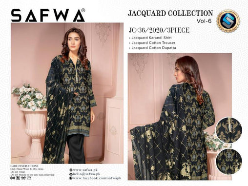 JC-36-SAFWA JACQUARD KARANDI/COTTON COLLECTION-3 PIECE DRESS - Safwa |Dresses| Pakistani Dresses| Fashion|Online Shopping