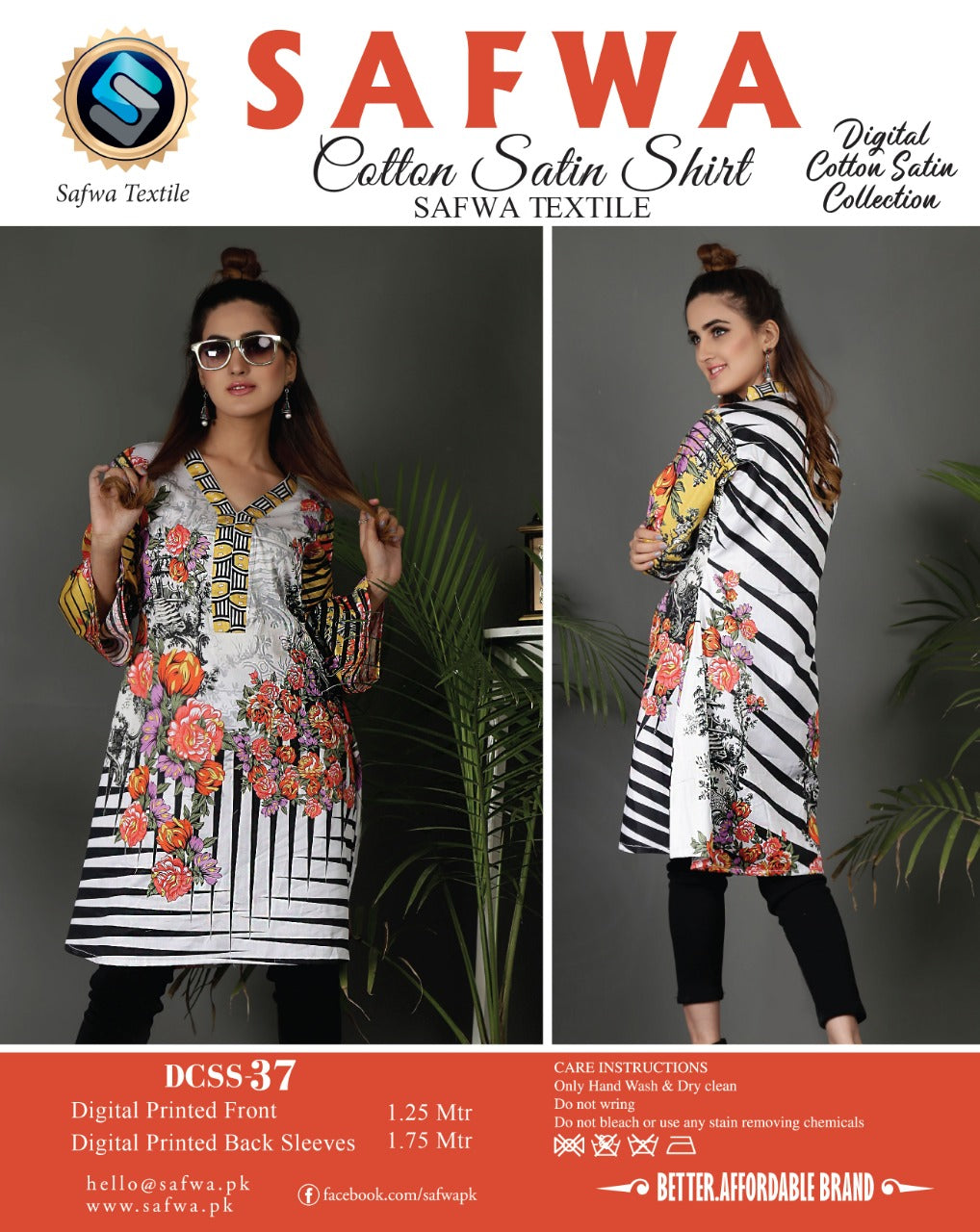 SAFWA DRESS DESIGN, DRESSES, PAKISTANI DRESSES, DCSS-37- SAFWA DIGITAL COTTON SATIN SHIRT COLLECTION -SHIRT KURTI KAMEEZ-Shirt-Kurti-SAFWA -SAFWA Brand Pakistan online shopping for Designer Dresses