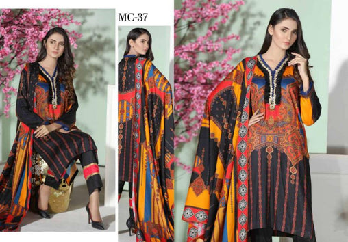 MC 37 - SAFWA DIGITAL MODALLE 3 PIECE PRINT COLLECTION -SHIRT Trouser and Duptta |SAFWA DRESS DESIGN| DRESSES| PAKISTANI DRESSES| SAFWA -SAFWA Brand Pakistan online shopping for Designer Dresses