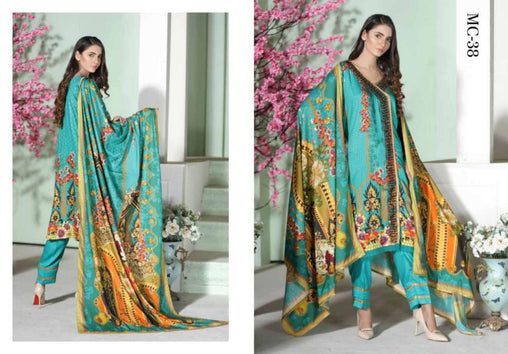 MC 38 - SAFWA DIGITAL MODALLE 3 PIECE PRINT COLLECTION -SHIRT Trouser and Duptta |SAFWA DRESS DESIGN| DRESSES| PAKISTANI DRESSES| SAFWA -SAFWA Brand Pakistan online shopping for Designer Dresses