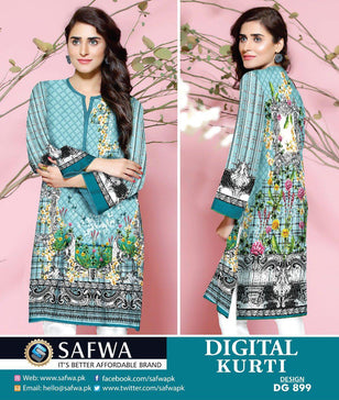DG899 - SAFWA DIGITAL COTTON PRINT KURTI COLLECTION -SHIRT KURTI KAMEEZ