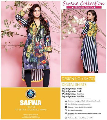 SA-703 - SAFWA LAWN - SERENE COLLECTION - DIGITAL  - SHIRTS