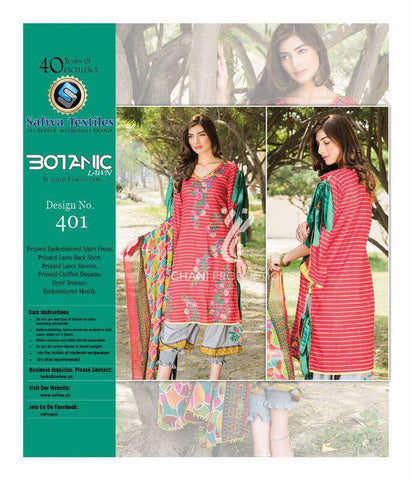 BT-401 - SAFWA LAWN - BOTANIC COLLECTION - EMBROIDERED - 3 PIECE DRESS