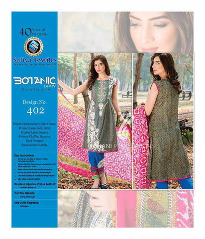 BT-402 - SAFWA LAWN - BOTANIC COLLECTION - EMBROIDERED - 3 PIECE DRESS