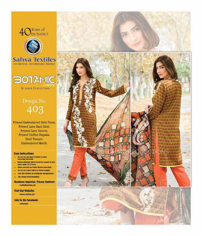 BT-403 - SAFWA LAWN - BOTANIC COLLECTION - EMBROIDERED - 3 PIECE DRESS