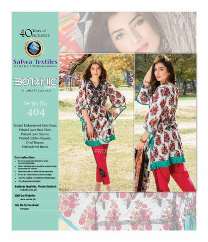 BT-404 - SAFWA LAWN - BOTANIC COLLECTION - EMBROIDERED - 3 PIECE DRESS