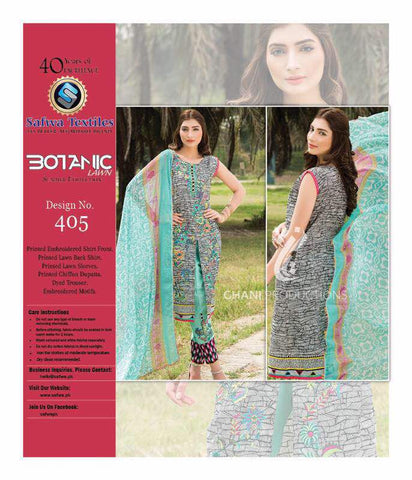 BT-405 - SAFWA LAWN - BOTANIC COLLECTION - EMBROIDERED - 3 PIECE DRESS