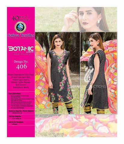BT-406 - SAFWA LAWN - BOTANIC COLLECTION - EMBROIDERED - 3 PIECE DRESS