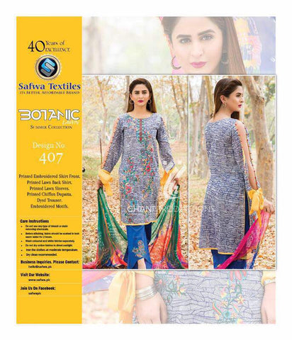 BT-407 - SAFWA LAWN - BOTANIC COLLECTION - EMBROIDERED - 3 PIECE DRESS