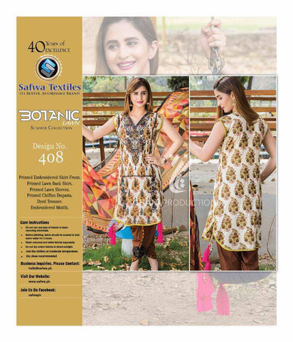 BT-408 - SAFWA LAWN - BOTANIC COLLECTION - EMBROIDERED - 3 PIECE DRESS