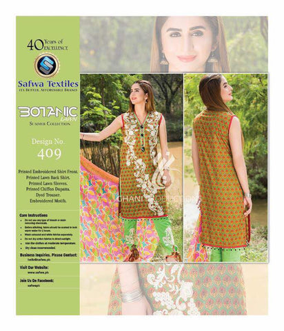 BT-409 - SAFWA LAWN - BOTANIC COLLECTION - EMBROIDERED - 3 PIECE DRESS
