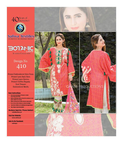 BT-410 - SAFWA LAWN - BOTANIC COLLECTION - EMBROIDERED - 3 PIECE DRESS