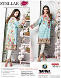 ST-414 - SAFWA PREMIUM LAWN - STELLER COLLECTION - EMBROIDERY DIGITAL  - SHIRTS