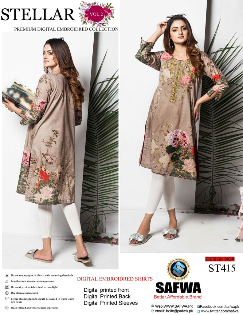 ST-415 - SAFWA PREMIUM LAWN - STELLER COLLECTION - EMBROIDERY DIGITAL  - SHIRTS - Shirt-Kurti - Safwa Pakistan Fashion