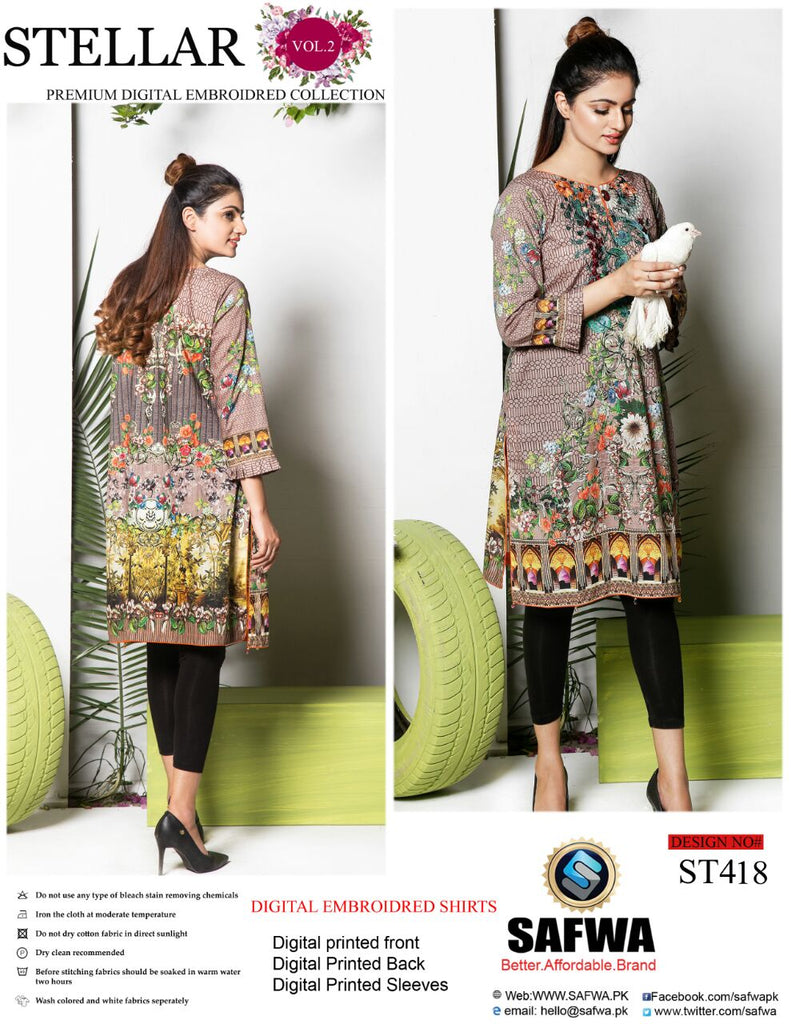 ST-418 - SAFWA PREMIUM LAWN - STELLER COLLECTION - EMBROIDERY DIGITAL  - SHIRTS - Shirt-Kurti - Safwa Pakistan Fashion