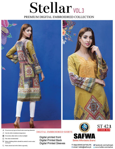 ST-421 - SAFWA PREMIUM LAWN - STELLER COLLECTION - EMBROIDERY DIGITAL  - SHIRTS