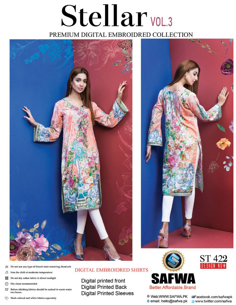 ST-422 - SAFWA PREMIUM LAWN - STELLER COLLECTION - EMBROIDERY DIGITAL  - SHIRTS