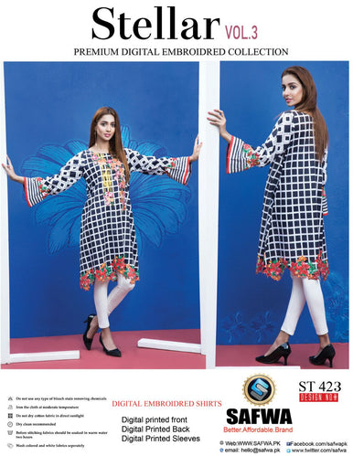 ST-423 - SAFWA PREMIUM LAWN - STELLER COLLECTION - EMBROIDERY DIGITAL  - SHIRTS