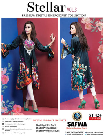 ST-424 - SAFWA PREMIUM LAWN - STELLER COLLECTION - EMBROIDERY DIGITAL  - SHIRTS