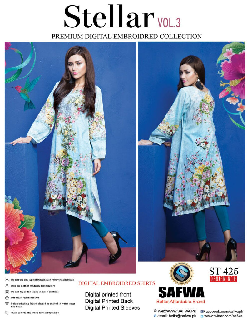 ST-425 - SAFWA PREMIUM LAWN - STELLER COLLECTION - EMBROIDERY DIGITAL  - SHIRTS