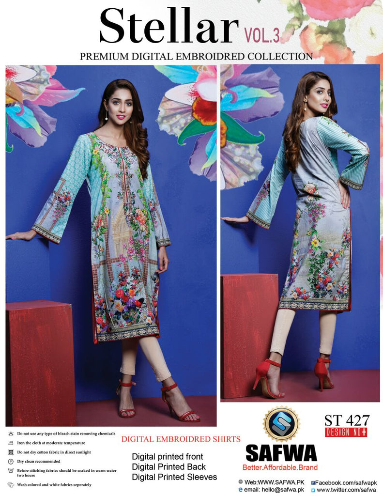 ST-427 - SAFWA PREMIUM LAWN - STELLER COLLECTION - EMBROIDERY DIGITAL  - SHIRTS - Shirt-Kurti - Safwa Pakistan Fashion