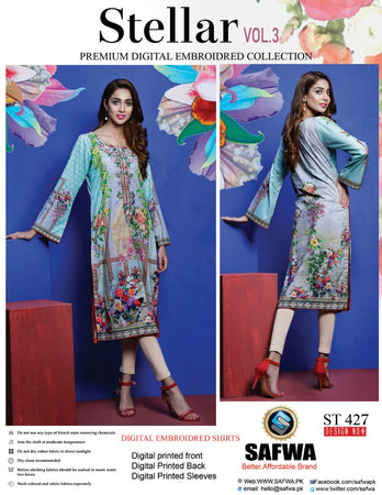 ST-427 - SAFWA PREMIUM LAWN - STELLER COLLECTION - EMBROIDERY DIGITAL  - SHIRTS