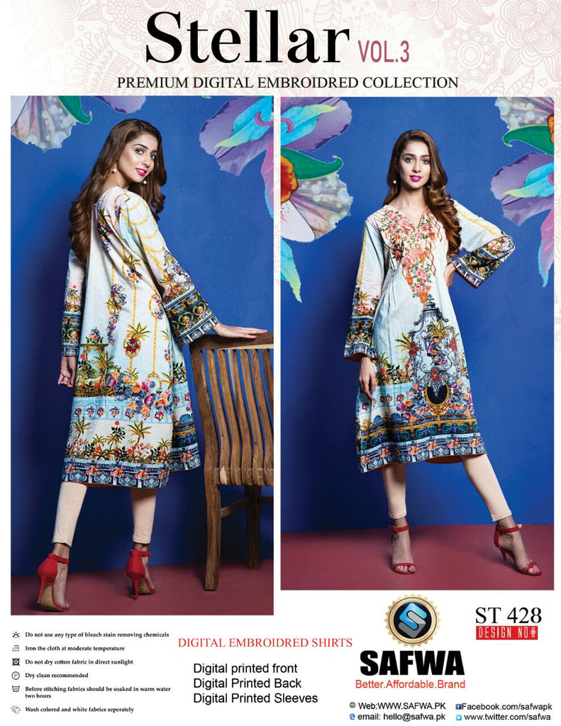 ST-428 - SAFWA PREMIUM LAWN - STELLER COLLECTION - EMBROIDERY DIGITAL  - SHIRTS