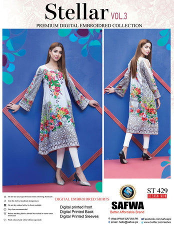 ST-429 - SAFWA PREMIUM LAWN - STELLER COLLECTION - EMBROIDERY DIGITAL  - SHIRTS