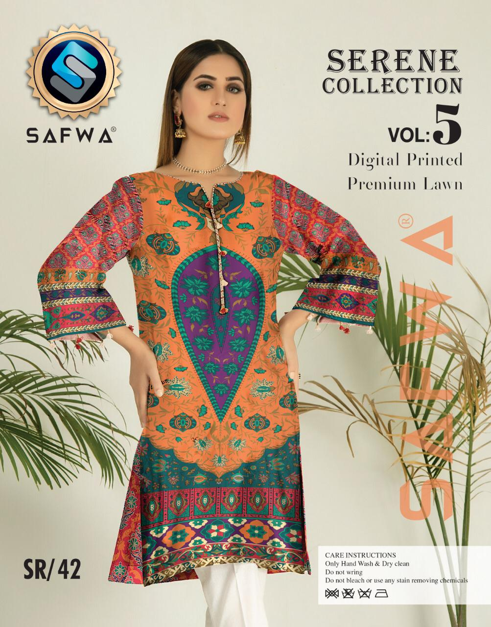 SP-42-SAFWA PREMIUM LAWN-SERENE PLUS COLLECTION-DIGITAL 2 PIECE - Safwa-Pakistani Dresses-Dresses-Kurti-Shop Online