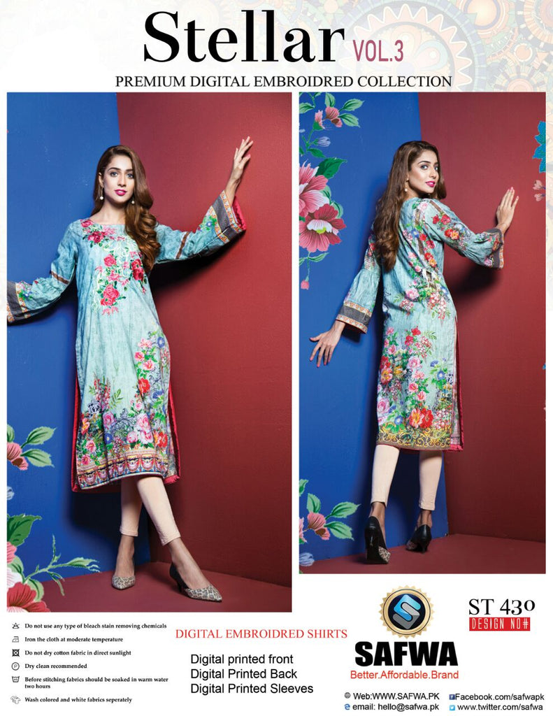 ST-430 - SAFWA PREMIUM LAWN - STELLER COLLECTION - EMBROIDERY DIGITAL  - SHIRTS