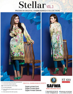 ST-431 - SAFWA PREMIUM LAWN - STELLER COLLECTION - EMBROIDERY DIGITAL  - SHIRTS
