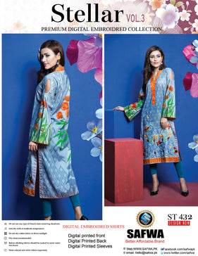 ST-432 - SAFWA PREMIUM LAWN - STELLER COLLECTION - EMBROIDERY DIGITAL  - SHIRTS - Shirt-Kurti - Safwa Pakistan Fashion