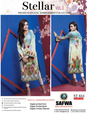 ST-433 - SAFWA PREMIUM LAWN - STELLER COLLECTION - EMBROIDERY DIGITAL  - SHIRTS - Shirt-Kurti - Safwa Pakistan Fashion