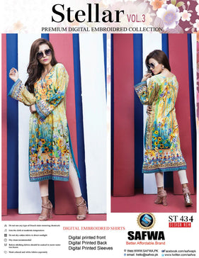 ST-434 - SAFWA PREMIUM LAWN - STELLER COLLECTION - EMBROIDERY DIGITAL  - SHIRTS - Shirt-Kurti - Safwa Pakistan Fashion