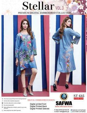 ST-435 - SAFWA PREMIUM LAWN - STELLER COLLECTION - EMBROIDERY DIGITAL  - SHIRTS - Shirt-Kurti - Safwa Pakistan Fashion
