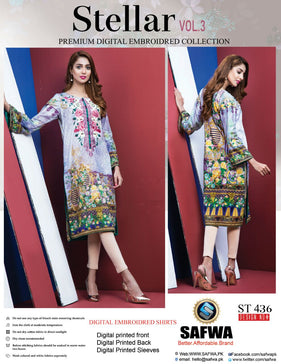 ST-436 - SAFWA PREMIUM LAWN - STELLER COLLECTION - EMBROIDERY DIGITAL  - SHIRTS - Shirt-Kurti - Safwa Pakistan Fashion