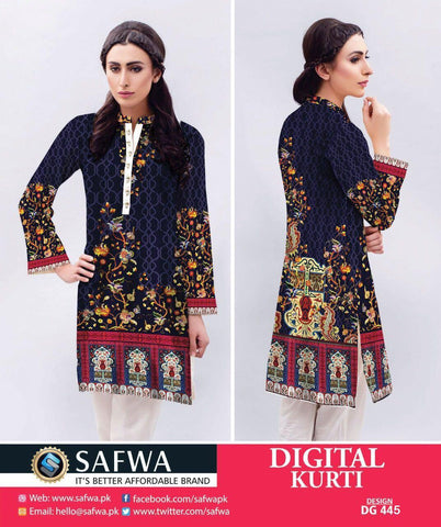 SAFWA DIGITAL COTTON PRINT KURTI COLLECTION -SHIRT KURTI KAMEEZ, Shirt-Kurti, SAFWA, SAFWA Brand - Pakistani Dresses | Kurtis | Shalwar Kameez | Online Shopping | Lawn Dress| Karandi| lAWN