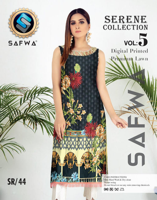 SP-44-SAFWA PREMIUM LAWN-SERENE PLUS COLLECTION-DIGITAL 2 PIECE - Safwa-Pakistani Dresses-Dresses-Kurti-Shop Online